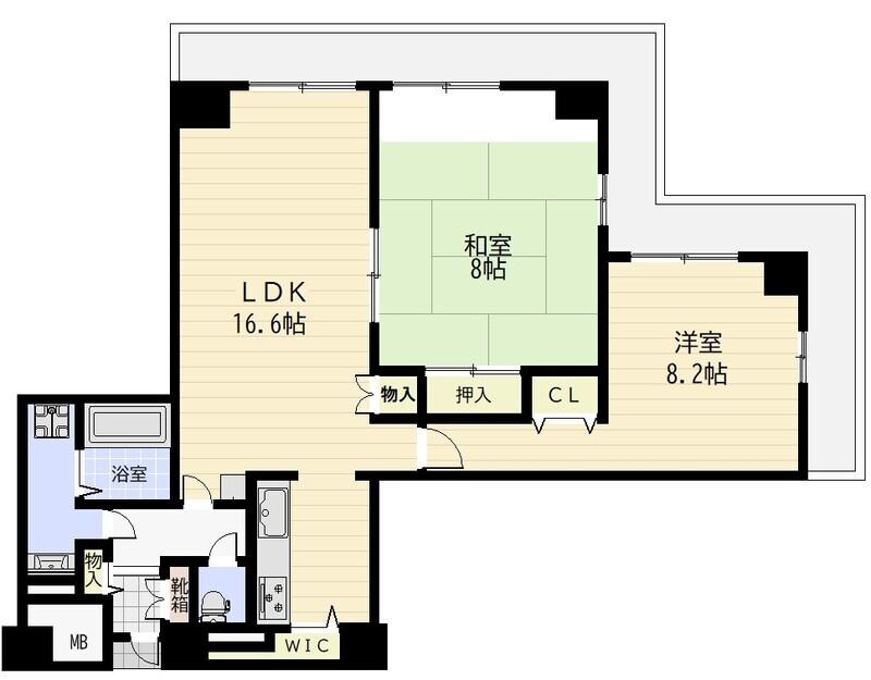 33階 南西角部屋の2LDK