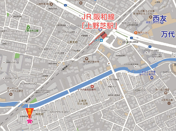 JR阪和線 上野芝駅まで 徒歩7分。万代も新規オープンで益々便利に。