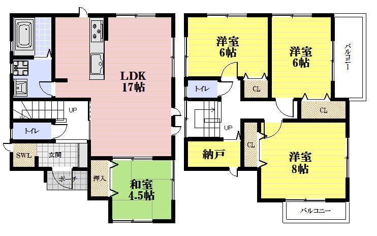 全6区画の分譲地、南向きバルコニーのお家。お車も2台駐車可能です。