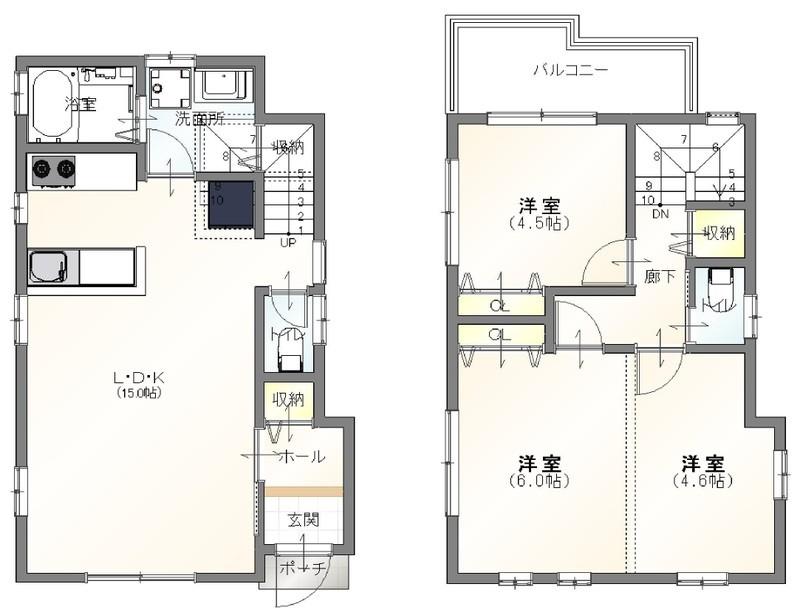 2階洋室は2部屋でも1部屋でも!!