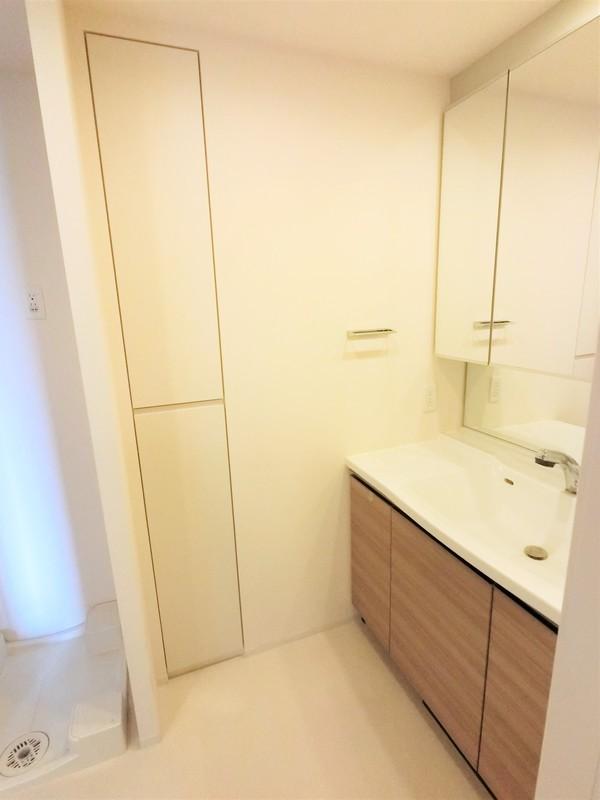 洗面室には収納がございます。これは嬉しいですね。スマートな扉ですが、収納力はあるんです。