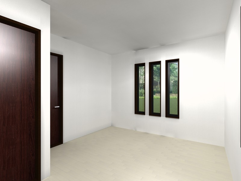 イメージパース3連滑り出し窓は、外観をおしゃれに演出します