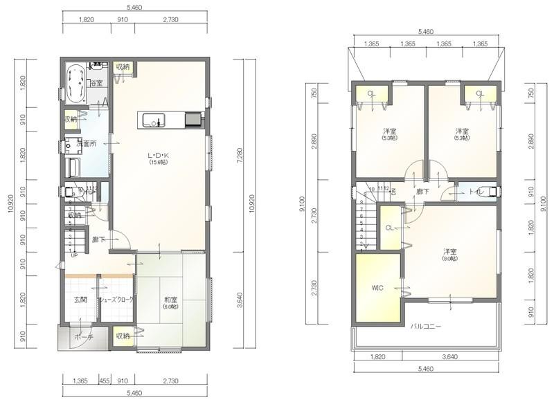 建物プラン例(4LDK)建築条件はございません。お好きなハウスメーカー・工務店で建築して下さい♪