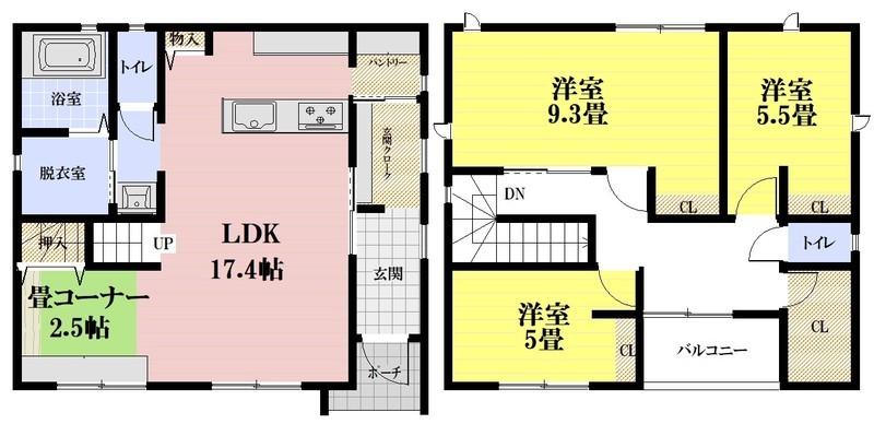 新築:未入居。土地約50.06坪。3LDK。駐車場3台可能。4LDKにもできます。LDKには、2帖の小上りがあります。