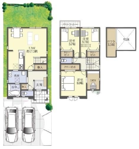 B号地プラン図:土地約40坪。駐車場2台可能。