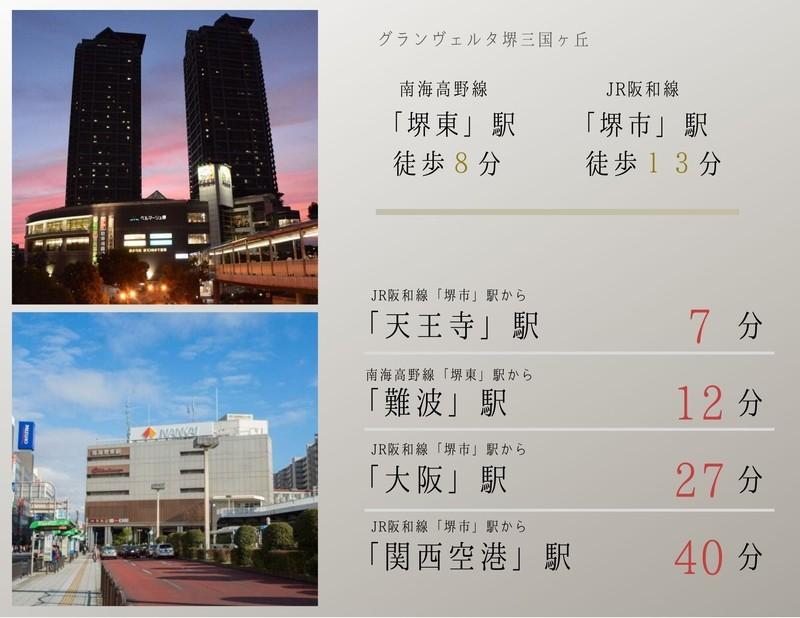 南海高野線 堺東駅まで徒歩約8分。JR阪和線 堺市駅まで徒歩約13分。豊かな交通網が貴方の新生活をサポートします。