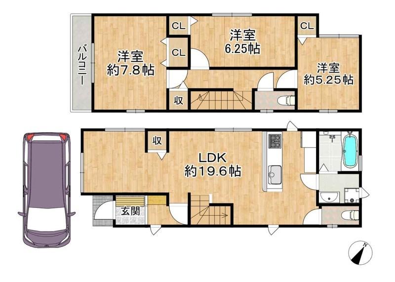 LDKは約19.6帖。リビングとダイニングの空間を分けられる、ゆとりの広さ。
