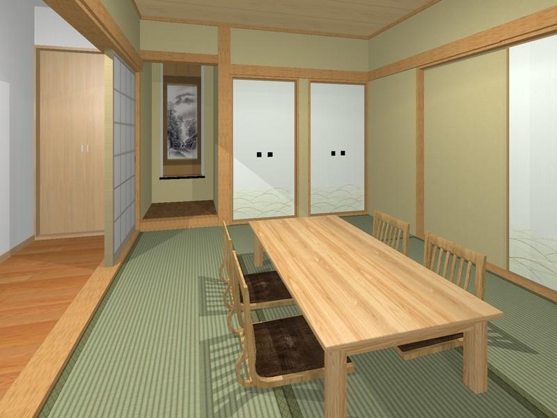 【和室 6帖】イメージパース■すぐ横になれる和室は、みんながほっと一息つける空間■床の間、仏間がございます