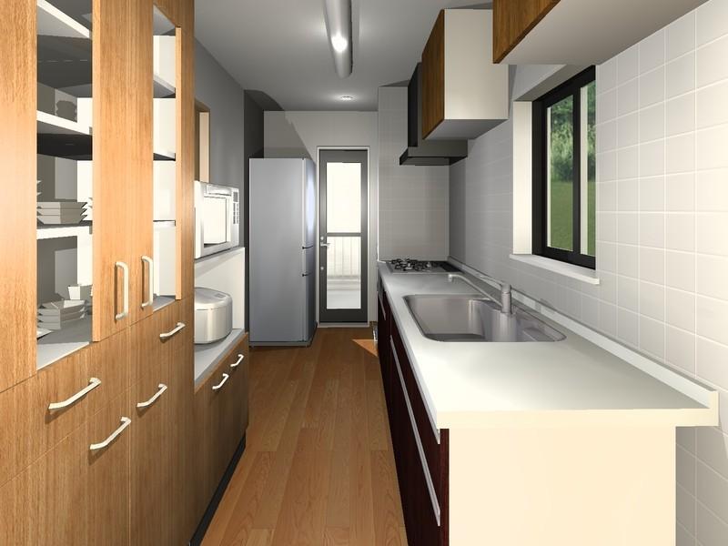 【キッチン】イメージパース■収納豊富でデザイン性の優れたシステムキッチン■便利な勝手口がございます!