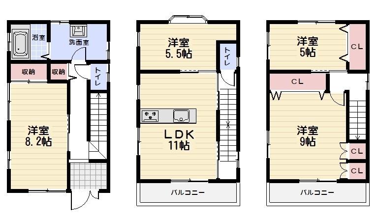 平成12年築の3階建。2階にLDK。東向き。日当り良好。前面道路7.4m。