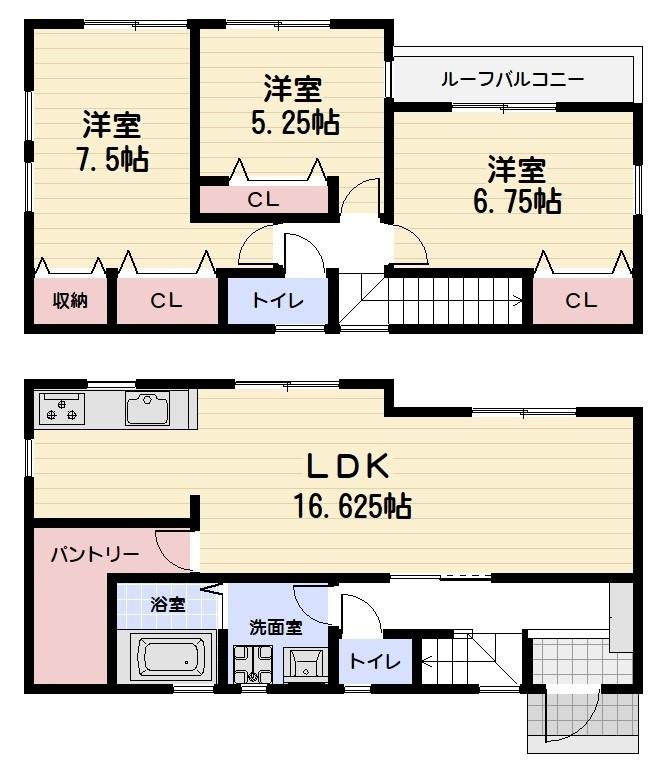 木造2階建て3LDK 全居室収納付き ママに嬉しい大きなパントリー付き 駐車2台可