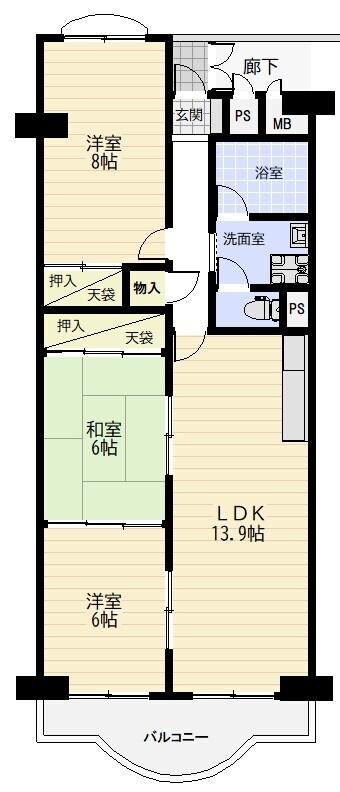 5階建てマンション5階部分。南向きのため日当たり良好です。リフォーム済の綺麗なお住まい。