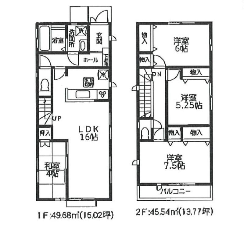 【間取図】3LDK+畳コーナー敷地面積 107.31�u土地面積  95.22�u駐車スペース2台分有