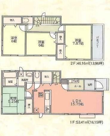 【間取図】敷地面積115.86�u(約35.04坪)使い勝手のよい4LDKです!駐車スペース2台OK!