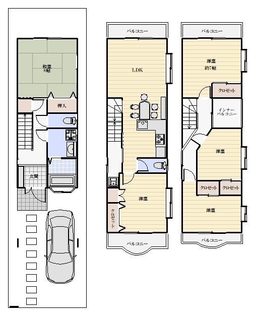 【間取】◆5LDK ◆3階建 ◆駐車場1台