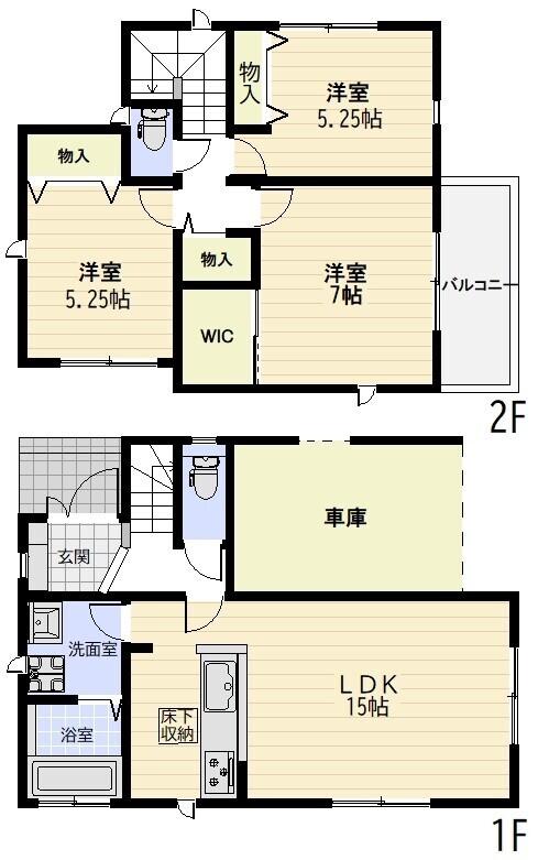 【間取図】2680万円、3LDK、土地面積76.07�u、建物面積80.73�u