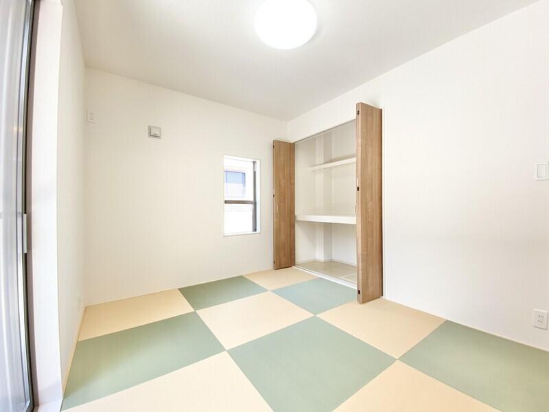 【和室5.25帖】素敵な縁なし畳です♪可愛らしい市松模様が癒やされますね♪いつでも内覧可能です♪お気軽にお問い合わせください♪