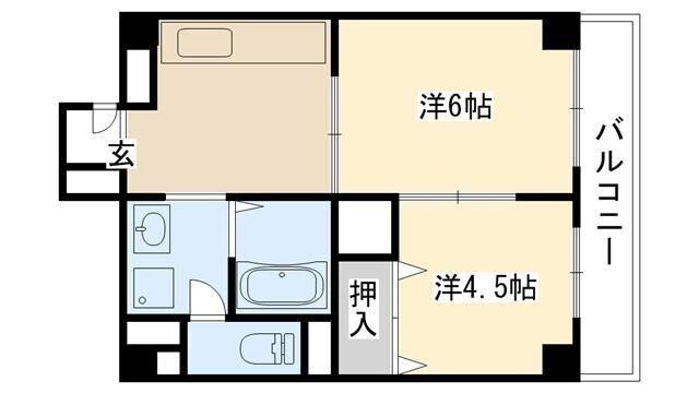 【間取図】全室フローリングの2DK◆4.5帖の洋室にはクローゼット付き♪